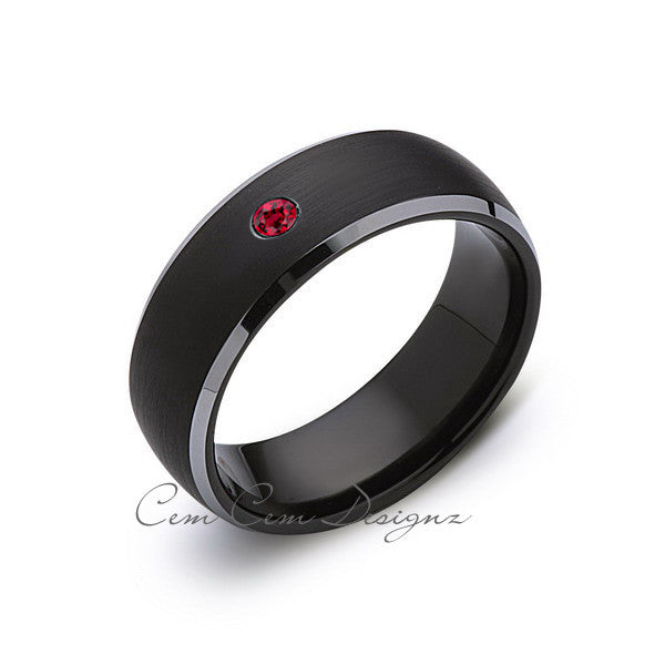 8mm,Black and Gray Tungsten,Red Ruby,Band,Gun Metal,Black Brushed,Tungsten Rings,Mens Wedding Band,Comfort Fit - LUXURY BANDS LA