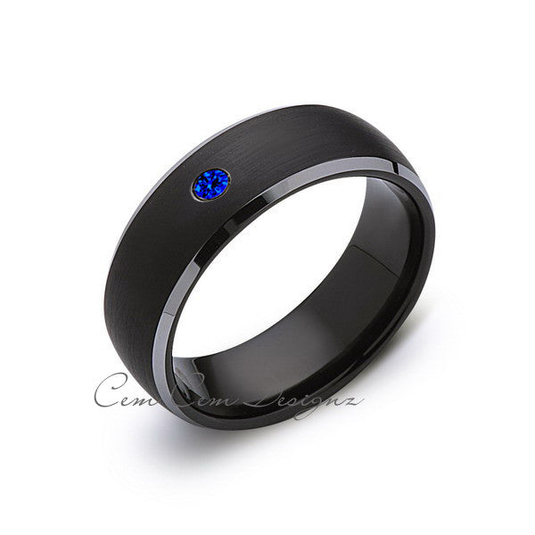 8mm,Black and Gray Tungsten,Blue Sapphire,Band,Gun Metal,Black Brushed,Tungsten Rings,Mens Wedding Band,Comfort Fit - LUXURY BANDS LA