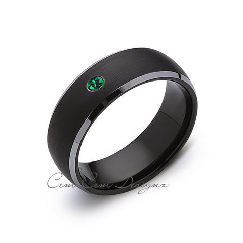 8mm,Black and Gray Tungsten,Green Emerald,Band,Gun Metal,Black Brushed,Tungsten Rings,Mens Wedding Band,Comfort Fit - LUXURY BANDS LA
