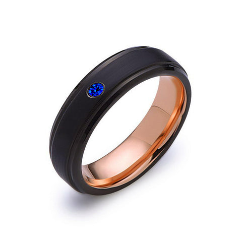 6mm,Mens,Blue Sapphire Band,Black Brushed,Rose Gold,Tungsten Ring,Rose Gold,Wedding Ring,Comfort Fit - LUXURY BANDS LA