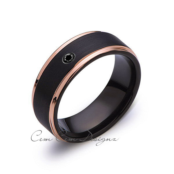 8mm,Mens,Black Diamond Band,Black Brushed,Rose Gold,Tungsten Ring,Rose Gold,Wedding Ring,Comfort Fit - LUXURY BANDS LA