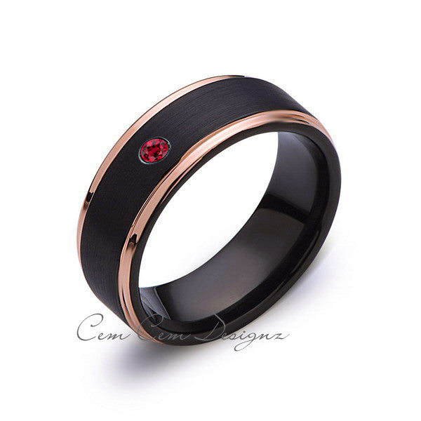 8mm,Mens,Red Ruby,Birthstone Band,Black Brushed,Rose Gold,Tungsten Ring,Rose Gold,Wedding Ring Comfort Fit - LUXURY BANDS LA
