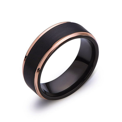 Black Tungsten Wedding Band - Black Brushed Ring - Rose Gold - 8mm Ring - Mens Ring - LUXURY BANDS LA