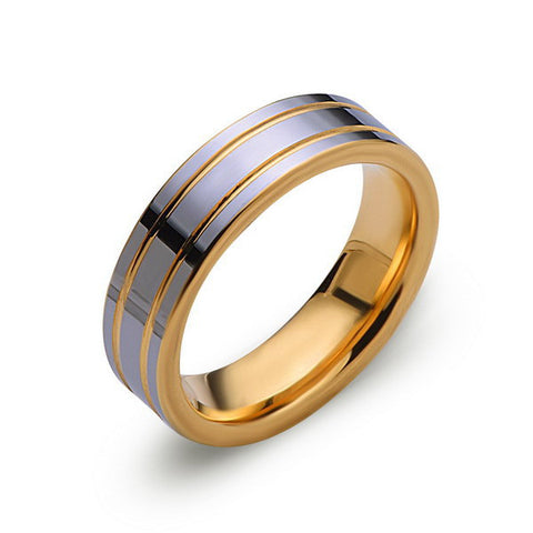 Yellow Gold Tungsten Band - High Polish Silver Ring - Yellow Groove - 6mm Band - Engagement Ring - Unisex - Tungsten Band - LUXURY BANDS LA
