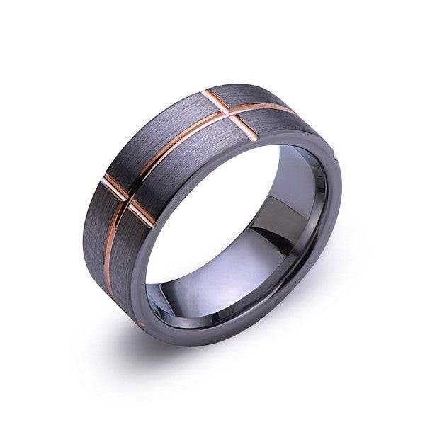 Rose Gold Tungsten Ring - Gray Brushed Wedding Band - 8 mm Ring - Unique Engagment Band - Comfort Fit - LUXURY BANDS LA
