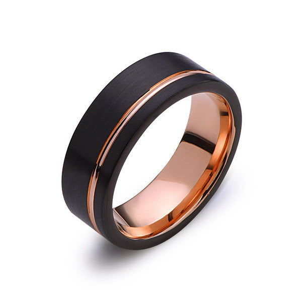 Rose Gold Tungsten Wedding Band - Black - Rose Groove Brushed Ring - 8mm Ring - Unique Engagment Band - Comfor Fit - LUXURY BANDS LA