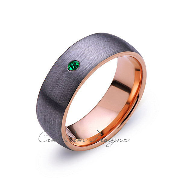 8mm,Mens,Green Emerald,Gray Brushed,Rose Gold,Tungsten Ring,Rose Gold,Birthstone,Wedding Band,Comfort Fit - LUXURY BANDS LA
