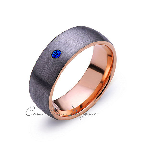 8mm,Mens,Blue Sapphire,Gray Brushed,Rose Gold,Tungsten Ring,Rose Gold,Wedding Band,Comfort Fit - LUXURY BANDS LA