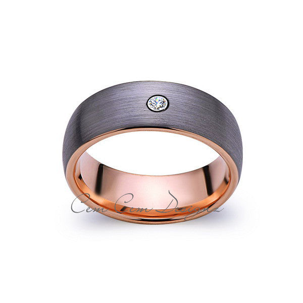 8mm,Mens,Diamond,Gray Brushed,Rose Gold,Tungsten Ring,Rose Gold,Wedding Band,Comfort Fit - LUXURY BANDS LA