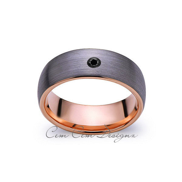 8mm,Mens,Black Diamond,Gray Brushed,Rose Gold,Tungsten Ring,Rose Gold,Wedding Band,Comfort Fit - LUXURY BANDS LA