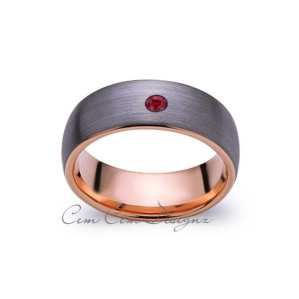 8mm,Mens,Red Ruby,Gray Brushed,Rose Gold,Tungsten Ring,Rose Gold,Birthstone,Wedding Band,Comfort Fit - LUXURY BANDS LA