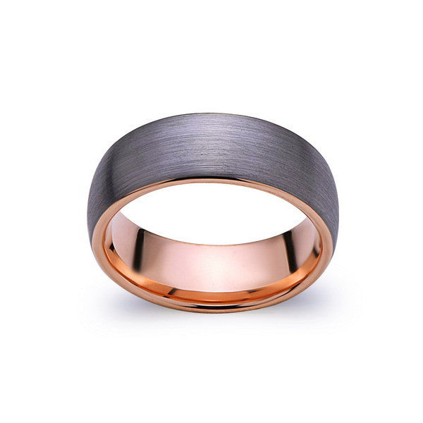 Rose Gold Tungsten Wedding Band - Gray Brushed Tungsten Ring - 8mm Dome - Mens Ring - Tungsten Carbide - Engagement Band - Comfort Fit - LUXURY BANDS LA