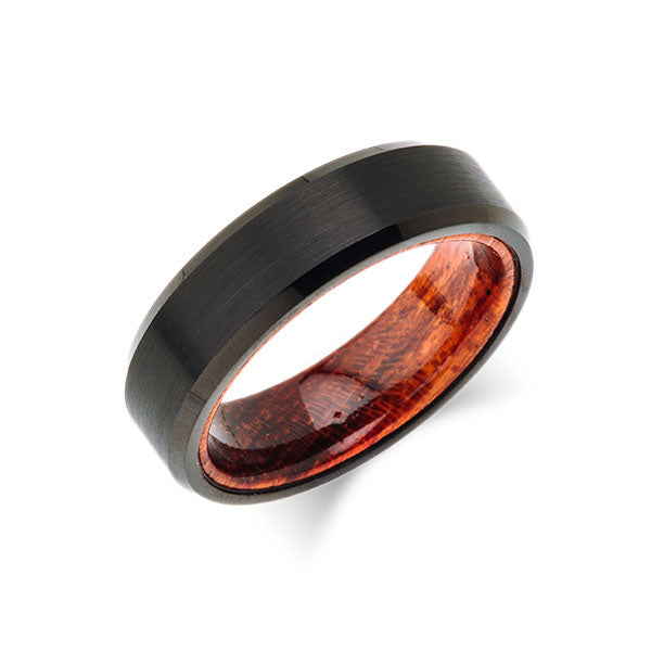 Koa Wood Wedding Ring - Black Brushed Tungsten Band - Hawaiian Koa Wood - 6mm - Mens - Comfort Fit - LUXURY BANDS LA