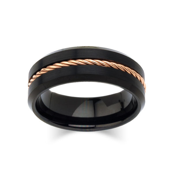 Brushed Black Tungsten Wedding Band -  Mens Rose Gold Rope Engagement Ring  - Unique - Comfort Fit - LUXURY BANDS LA