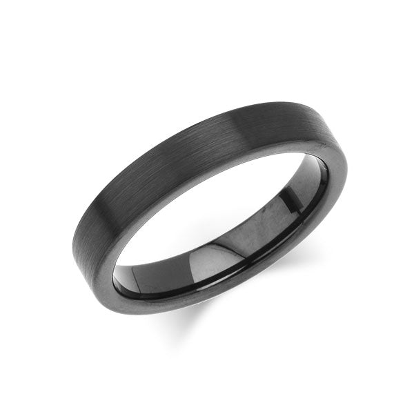 Black Tungsten Wedding Band - Brushed Black Ring - 4MM - Pipe Cut- Unisex Ring - Engagement Band - Comfort Fit - LUXURY BANDS LA