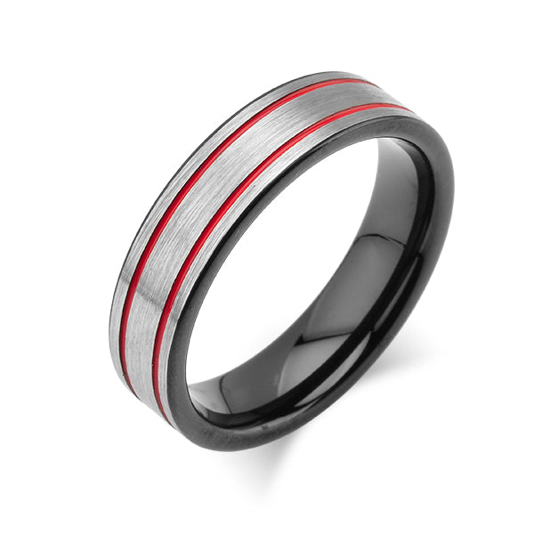 Grey Brushed Tungsten Ring -Red Mens Wedding Band - 6mm - Mens Ring - Tungsten Carbide - Unique Design - Comfort Fit - LUXURY BANDS LA
