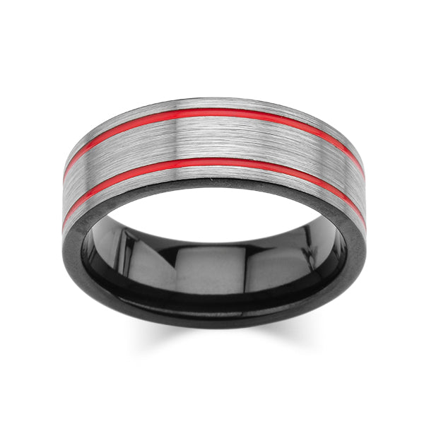 Grey Brushed Tungsten Ring -Red Mens Wedding Band - 8mm - Mens Ring - Tungsten Carbide - Unique Design - Comfort Fit - LUXURY BANDS LA