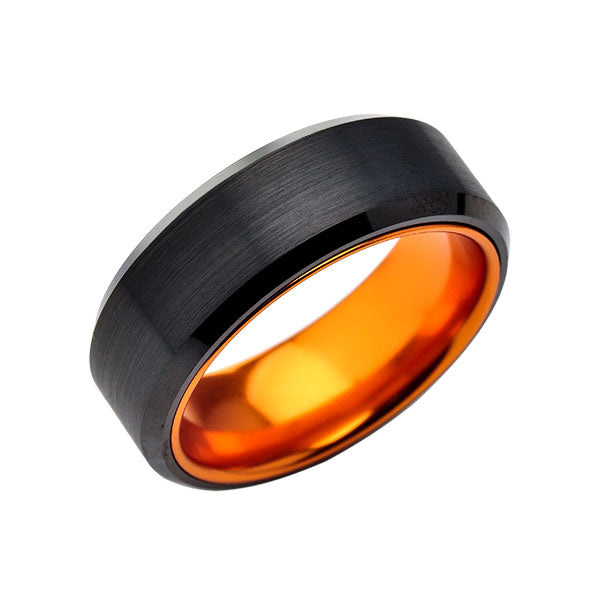 Orange Tungsten Wedding Band - New Black Brushed Ring - 8mm Ring - Unique Orange Engagement Band - Comfort Fit