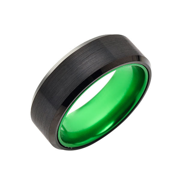 Green Tungsten Wedding Band - New Black Brushed Ring - 8mm Ring - Unique Green Engagement Band - Comfort Fit - LUXURY BANDS LA