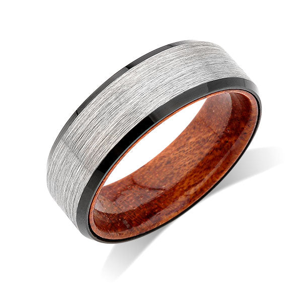 Koa Wood Wedding Ring - 8MM - Gray Gunmetal Brushed Tungsten Band - Hawaiian Koa Wood - Comfort Fit - LUXURY BANDS LA