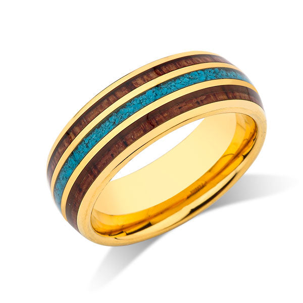 Yellow Gold Koa Wood Wedding Ring - Turquoise Tungsten Engagement Band - 8mm - Comfort Fit