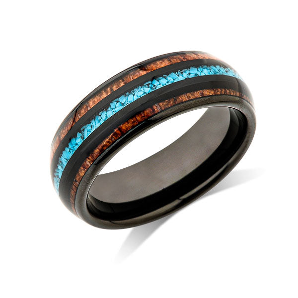 Koa Wood Wedding Ring - Turquoise Tungsten Engagement Band - 8mm - Comfort Fit