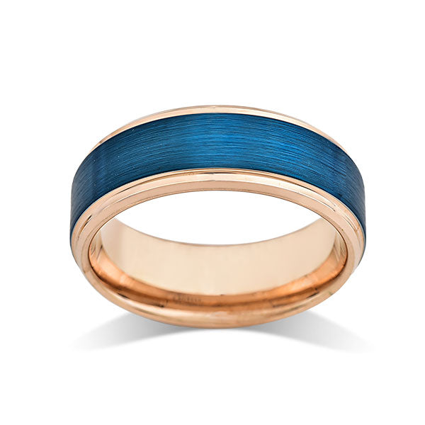 Blue Tungsten Wedding Band - Rose Gold - Stepped Edges - Brushed Tungsten Ring - 8mm - Mens Ring - Tungsten Carbide - Unique - Engagement Band - Comfort Fit