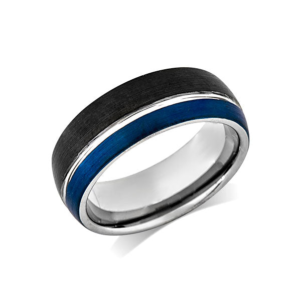 Blue Tungsten Wedding Band - Black Brushed Tungsten Ring - 8mm - Mens Ring - Tungsten Carbide - Engagement Band - Comfort Fit