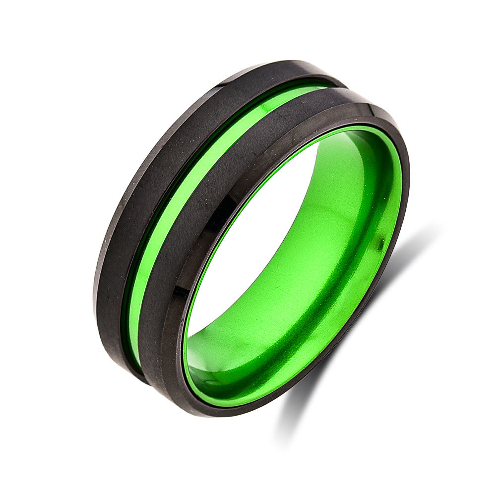 Mens Green Wedding Band - New Green Tungsten Ring - 8mm Ring - Unique Green Engagement Band - Comfort Fit