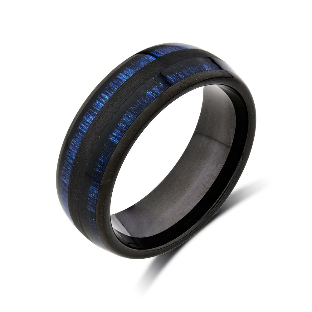 Koa Wood Wedding Ring - Blue Tungsten Engagement Band - 8mm - Comfort Fit