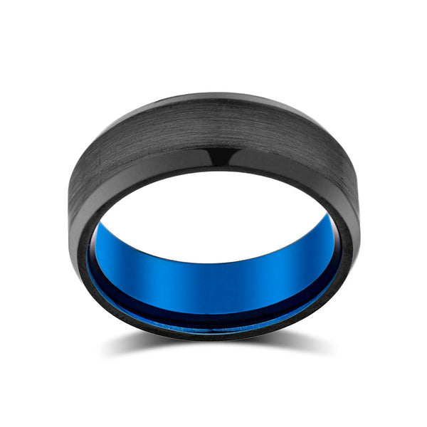 Blue Mens Wedding Band - Black Brushed Tungsten Ring - Beveled Edges - 8mm - Tungsten Carbide - Mens Engagement Band