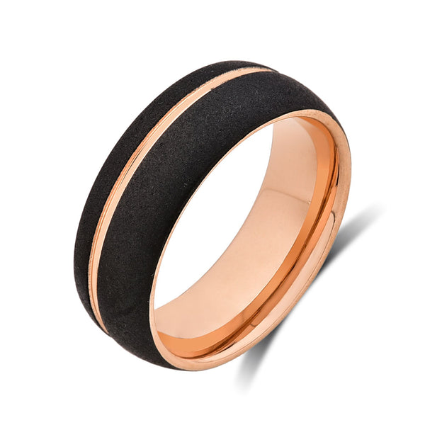 Mens Rose Gold Tungsten Wedding Band - Black Brushed Ring - 8mm Ring - Unique Engagement Band