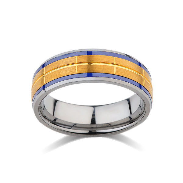 Blue Tungsten Wedding Band - Yellow Brushed Tungsten Ring - 8mm - Mens Ring - Unique Tungsten Carbide - Engagement Band - Comfort Fit - LUXURY BANDS LA