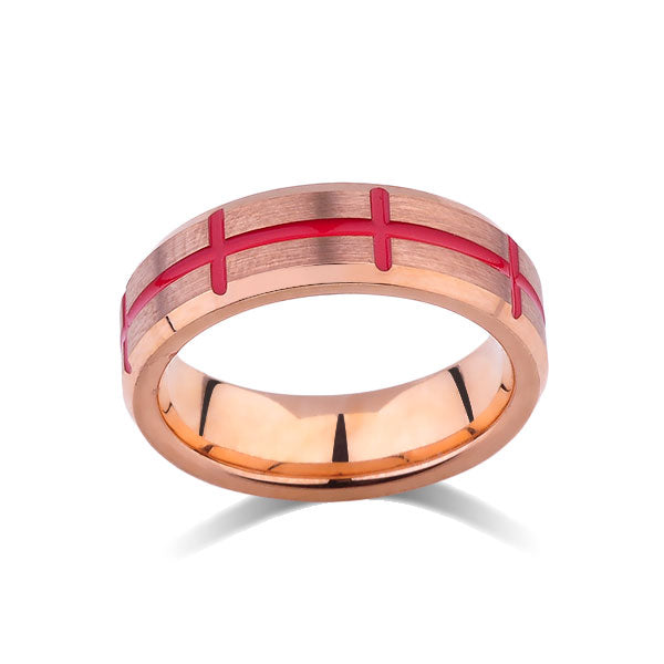 Rose Gold Tungsten Wedding Band - Red Designer Ring - Rose Gold Brushed Tungsten Carbide - 6MM - Mens Ring - Tungsten Carbide - Unique Engagement Band