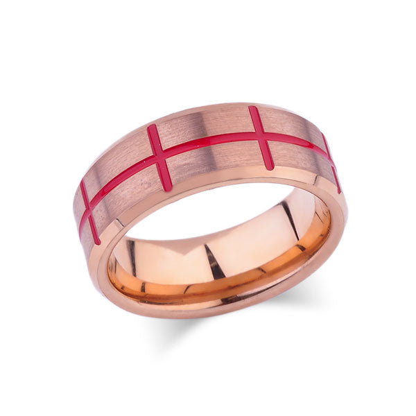 Rose Gold Tungsten Wedding Band - Mens Red Designer Ring - Tungsten Carbide - 8mm - Mens Ring - Tungsten Carbide - Unique Engagement Band