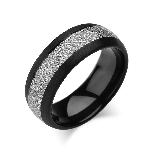 Meteorite Inlay Ring - Black Tungsten Wedding Band - Brushed Black Ring - 8mm - New - Unique - Engagement Band - Comfort Fit - LUXURY BANDS LA