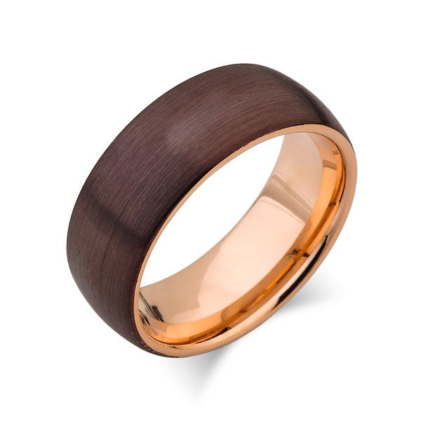 Rose Gold Tungsten Wedding Band - Champagne Brown Brushed Tungsten Ring - 8mm - Dome - Mens Ring - Engagement Band - Comfort Fit
