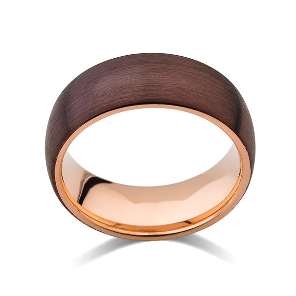 Rose Gold Tungsten Wedding Band - Champagne Brown Brushed Tungsten Ring - 8mm - Dome - Mens Ring - Engagement Band - Comfort Fit - LUXURY BANDS LA
