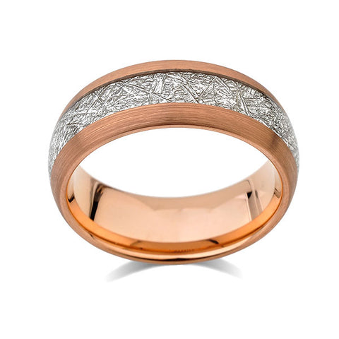 Meteorite Inlay Ring - Rose Gold Tungsten Wedding Band - Brushed Black Ring - 8mm - New - Unique - Engagement Band - Comfort Fit