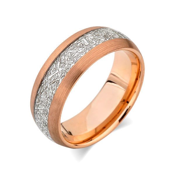 Meteorite Inlay Ring - Rose Gold Tungsten Wedding Band - Brushed Black Ring - 8mm - New - Unique - Engagement Band - Comfort Fit - LUXURY BANDS LA
