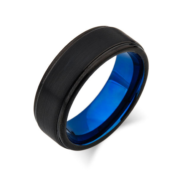 Blue Tungsten Wedding Band - Black Brushed Tungsten Ring - Stepped Edges - 8mm - Mens Ring - Tungsten Carbide - Engagement Band - Comfort Fit - LUXURY BANDS LA