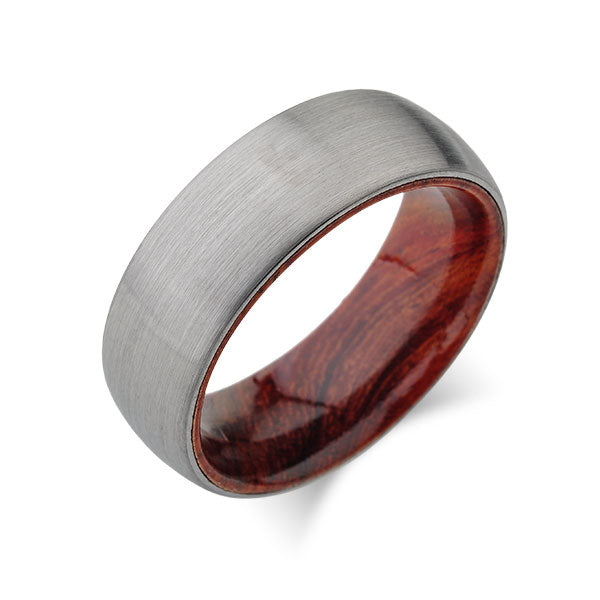 Koa Wood Wedding Ring - Brushed Gray Tungsten Band - Dome  Koa Wood Ring - Hawaiian Koa Wood - 8mm - Mens - Comfort Fit - LUXURY BANDS LA