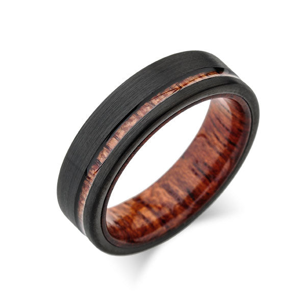 Koa Wood Wedding Ring - Black Brushed Tungsten Band - Offset Koa Wood Ring - Hawaiian Koa Wood - 6mm - Mens - Comfort Fit - LUXURY BANDS LA