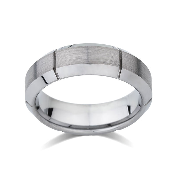 Gray Brushed Tungsten Ring - Unique Mens Band - Grooved - 7mm - High Polish Beveled Edge - Engagement Ring - LUXURY BANDS LA