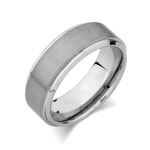 Gray Brushed Tungsten Ring - Pipe Cut - 8mm - High Polish Stepped Edge - Mens Band - Engagement Ring