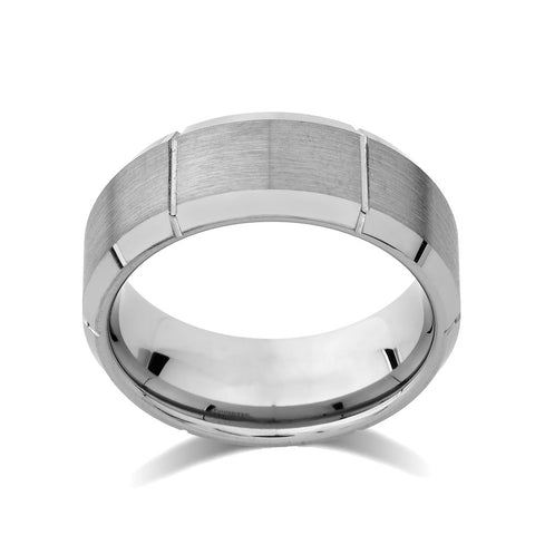 Copy of Gray Brushed Tungsten Ring - Unique Mens Band - Grooved - 9mm - High Polish Beveled Edge - Engagement Ring