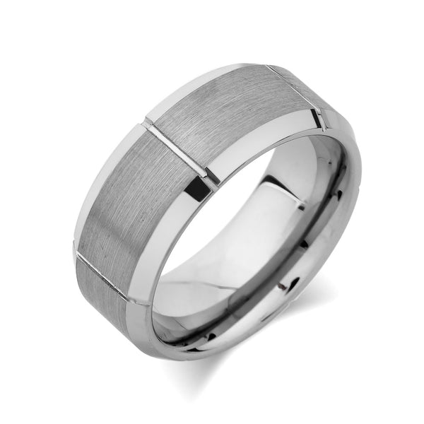 Gray Brushed Tungsten Ring - Unique Mens Band - Grooved - 9mm - High Polish Beveled Edge - Engagement Ring