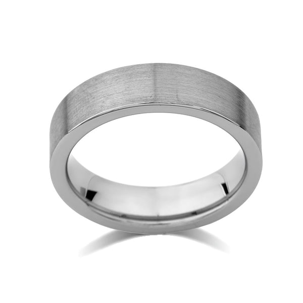 Gray Brushed Tungsten Ring - Pipe Cut - 6mm - Engagement  - Unique - Comfort Fit - LUXURY BANDS LA