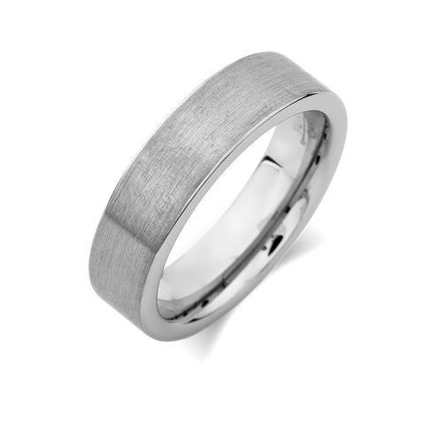 Gray Brushed Tungsten Ring - Pipe Cut - 6mm - Engagement  - Unique - Comfort Fit