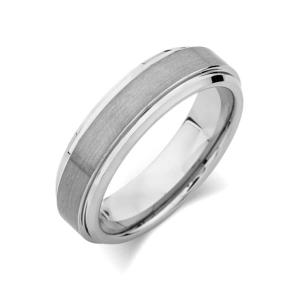 Gray Brushed Tungsten Ring - Pipe Cut - 6mm - High Polish Stepped Edge - Engagement Ring - LUXURY BANDS LA
